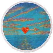Sunset Heart 01 Round Beach Towel