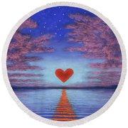 Sunset Heart 02 Round Beach Towel