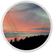Round Beach Towel featuring the photograph Sunset Home 3 by Ronda Broatch