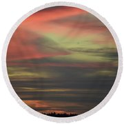 Round Beach Towel featuring the photograph Sunset Home by Ronda Broatch