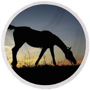 Sunset Horse Round Beach Towel