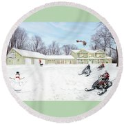 Sunset House At Christmas Round Beach Towel