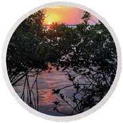 Round Beach Towel featuring the photograph Sunset, Hutchinson Island, Florida  -29188-29191 by John Bald