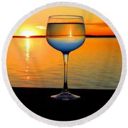 Sunset In A Glass Round Beach Towel