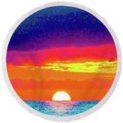 Sunset In Abstract 500 Round Beach Towel
