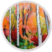 Sunset In An Aspen Grove Round Beach Towel