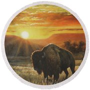 Sunset In Bison Country Round Beach Towel