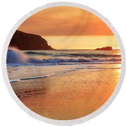Round Beach Towel featuring the photograph Sunset In Brookings by James Eddy