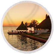 Sunset In Cancun Round Beach Towel