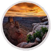Sunset In Canyonlands Round Beach Towel