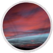 Sunset In Capital Reef  Round Beach Towel