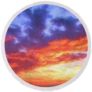 Sunset In Carolina Round Beach Towel