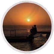 Sunset In Cerritos Round Beach Towel