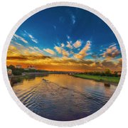 Sunset In Dresden Round Beach Towel