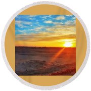 Sunset In Egypt Round Beach Towel
