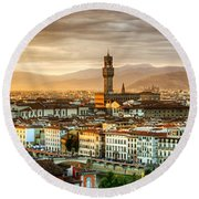 Sunset In Florence Round Beach Towel