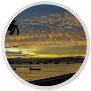 Sunset In Florianopolis Round Beach Towel