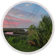 D32a-89 Sunset In Crystal River, Florida Photo Round Beach Towel