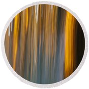 Round Beach Towel featuring the photograph Sunset In Forest by Davorin Mance