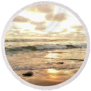 Sunset In Golden Tones Torrey Pines Natural Preserves #2 Round Beach Towel