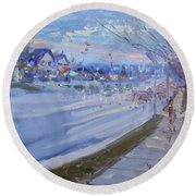 Sunset In Guelph St Georgetown On Round Beach Towel