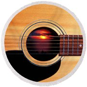 Sunset In Guitar Round Beach Towel by Garry Gay
