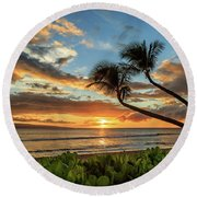 Sunset In Kaanapali Round Beach Towel by James Eddy