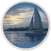 Sunset In Key West Round Beach Towel