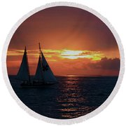 Sunset In Key West Round Beach Towel by Ron Grafe