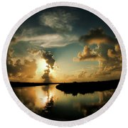 Sunset In Lacombe, La Round Beach Towel