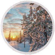 Sunset In Lapland Round Beach Towel by Delphimages Photo Creations