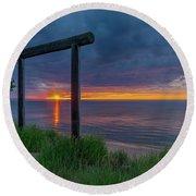 Sunset In Marquette Round Beach Towel