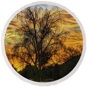 Sunset In Perris Round Beach Towel