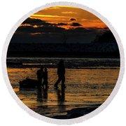 Sunset In Port Colborne Round Beach Towel