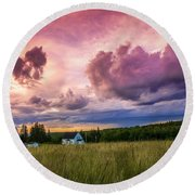 Sunset In Rear Intervale Round Beach Towel by Ken Morris