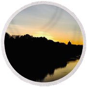 Sunset In Rome Round Beach Towel