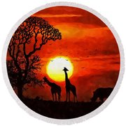 Sunset In Savannah Round Beach Towel