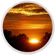 Sunset In Sonoma County Round Beach Towel