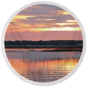Sunset In South Carolina Round Beach Towel