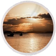 Sunset In Southern Brazil Round Beach Towel