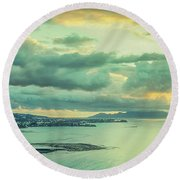Round Beach Towel featuring the photograph Sunset In Tahiti by Gary Slawsky