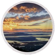 Round Beach Towel featuring the photograph Sunset In The Desert by Bryan Carter