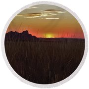 Sunset In The Badlands Round Beach Towel
