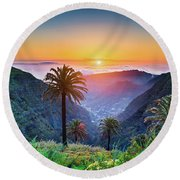 Sunset In The Canary Islands Round Beach Towel by JR Photography