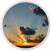 Sunset In The Caribbean Sea Round Beach Towel