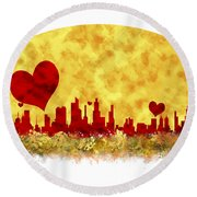 Sunset In The City Of Love Round Beach Towel