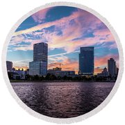Round Beach Towel featuring the photograph Sunset In The City by Randy Scherkenbach