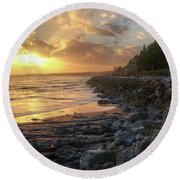 Round Beach Towel featuring the photograph Sunset In The Coast by Carlos Caetano