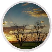 Sunset In The Fields Of Binyamina Round Beach Towel