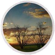 Sunset In The Fields Of Binyamina Round Beach Towel by Arik Baltinester